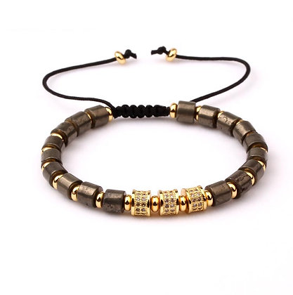 Natural stone Pyrite CZ tube Bracelet