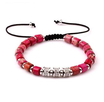 Natural stone Red pink jasper CZ Bracelet