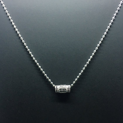 Men's Micro Beads Necklace with Greek Tube Black CZ Diamond