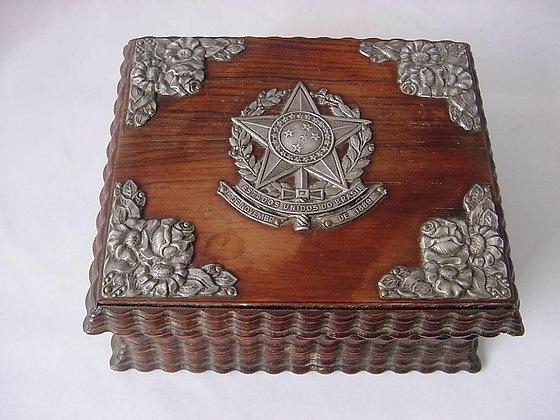 Antique 1889 Brazil Silver Carved Wood Cigarette Box Cigar Presentation.