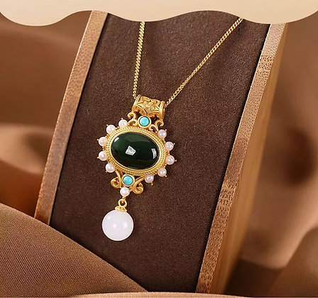 18k Gold over  Sterling Silver Jade, turquoise and Pearl Pendant Necklace