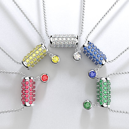 Modern Pendant Necklace with Gemstones