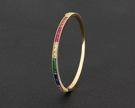 Rainbow Copper CZ Bangle