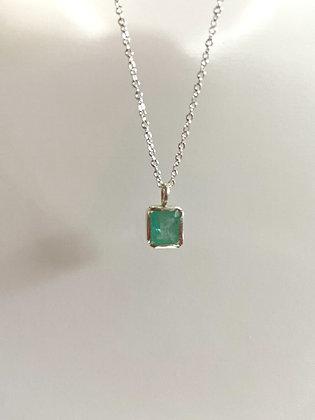 2 Ct Ct Natural Brazilian Emerald Pendant necklace 925