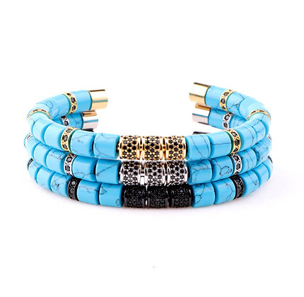 Natural turquoise stone tube bangle bracelet