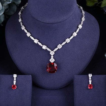 Olga 10 ct, CZ Necklace and Earrings Set