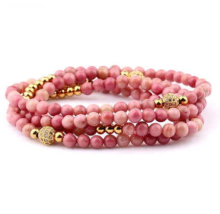 Design 4 TOURS BEADS BRACELET/NECKLACE - CORAL PINK