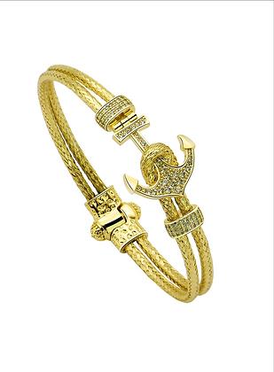 Bangle Bracelet Nautical Anchor Magnetic With 18K  Gold
