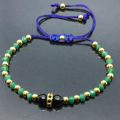 Unissex Beaded Bracelet with Jade Emeralds, Onyx and Black CZ