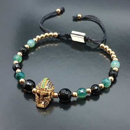 Men's Beaded Bracelet with Black and Green CZ Diamond, Matte Onyx and Agate