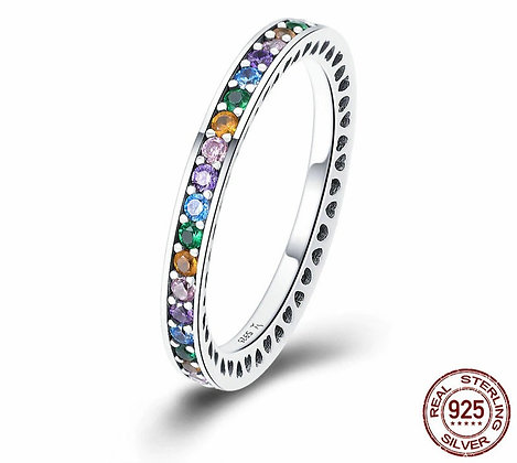 925 Sterling Silver  Colorful CZ Ring