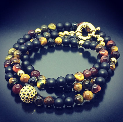 Beaded Bracelet/Necklace with Brown Tiger Eye, Onyx  and Blk CZ Diamond  Pendant