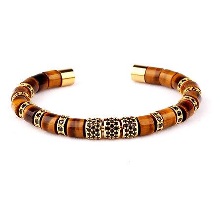 Design natural Tigers Eye stone tube bangle bracelet
