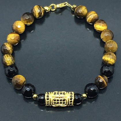 Men's Greek Column with Tiger Eye, Matte Onyx Bracelet and Black CZ Diamonds