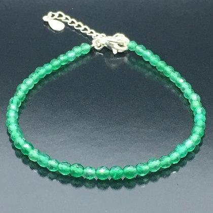 Women's 925 Solid Silver natural Green Jade gemstone bead
