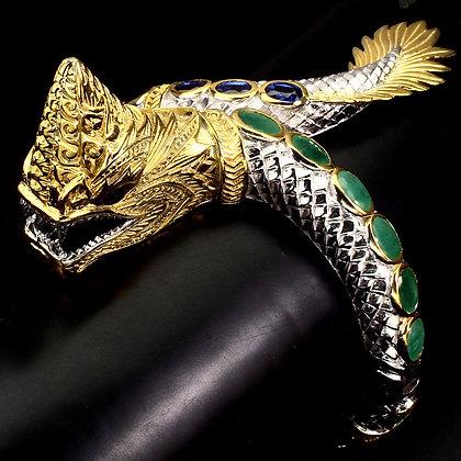 Tarcisio Via Naga Dragon with Emerald, Amethyst, Sapphire 925 Sterling Silver