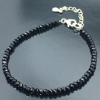 Women's 925 Solid Silver natural black spinel bracelet gemstone bead