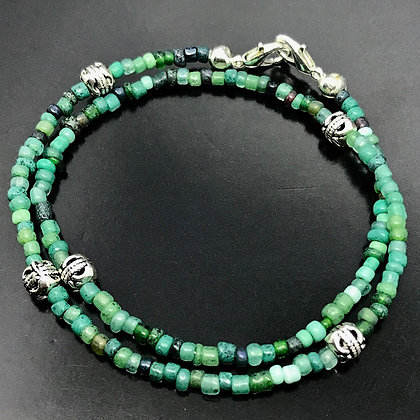 Unissex Bracelet Blue, Green, Brown Glass Beads and Silver Thai Beads
