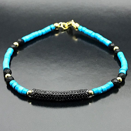 The Turquoise Collection - Faceted opaque Onyx, Turquoise and  Black CZ Diamonds