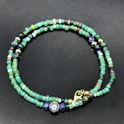Unissex Bracelet Blue, Green, Brown Glass Beads with chrysocolla and Gold