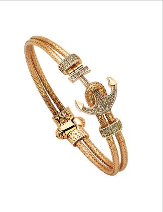 Bangle Bracelet Nautical Anchor Magnetic With 18K Rose Gold