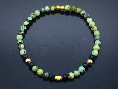 Men's 14k Gold Wristband with Smooth Round African Turquoise and  Faceted Onyx