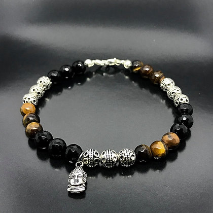 Men's Beaded Bracelet with Silver Thai Beads,Tiger's Eye, Onyx  and buddha charm