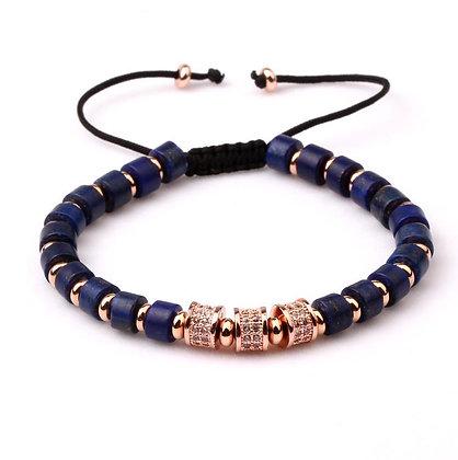 Natural stone Lapis Lazuli CZ  Bracelet Rose Gold