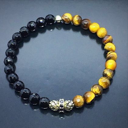 Men's Wristband with Matte Onyx , Brown Tiger Eye and Sacred Lotus