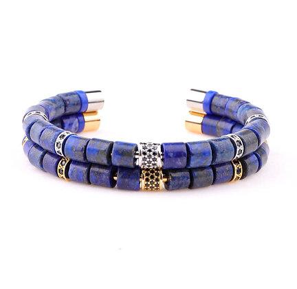 Style natural lapis Lazuli stone tube bangle bracelet