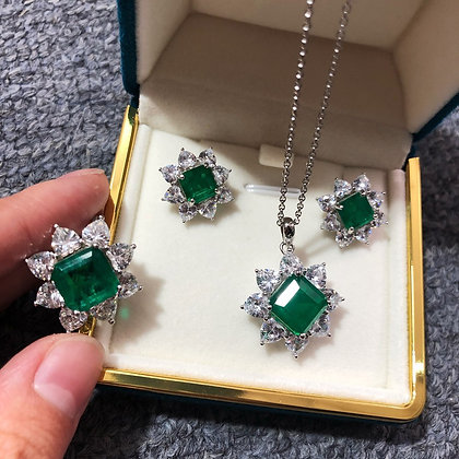 Emerald Set 925 Sterling Silver Necklace-Earrings-Ring