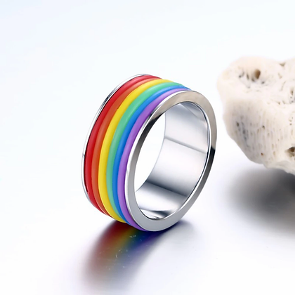 Rainbow ColorfulRing Stainless SteelBand