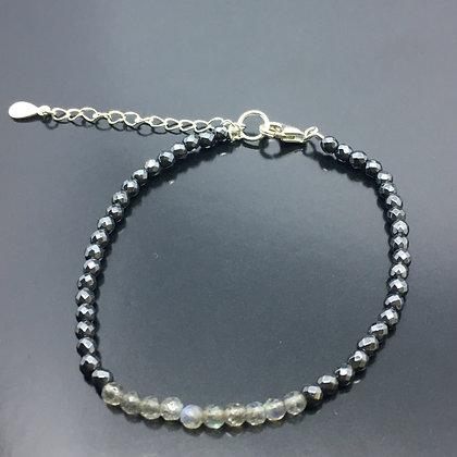 Women's 925 Solid Silver natural Hematite & Labradorite  gemstone bead