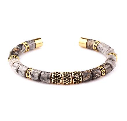 Design natural Labradorite stone tube bangle bracelet