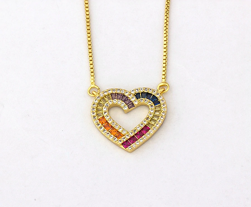 Rainbow Heart CZ Necklace