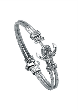 Bangle Bracelet Nautical Anchor Magnetic With 18K White Gold