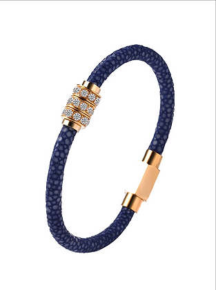 Unissex Blue Stingray Bracelet with Gold Lock