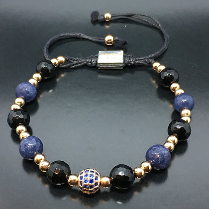Women's Beaded Bracelet with Onyx, Sapphire, and Rose Gold