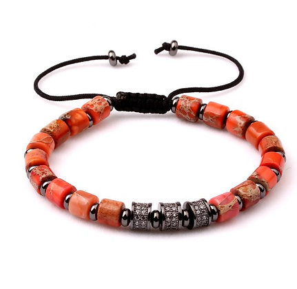 Natural stone orange jasper CZ tube Bracelet