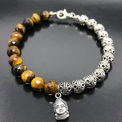 Men's Beaded Bracelet with Indian Silver Thai Beads,Tiger's Eye and buddha charm