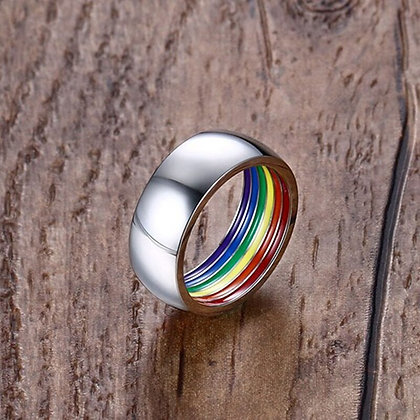 Rainbow Colorful Ring Stainless Steel Band SE