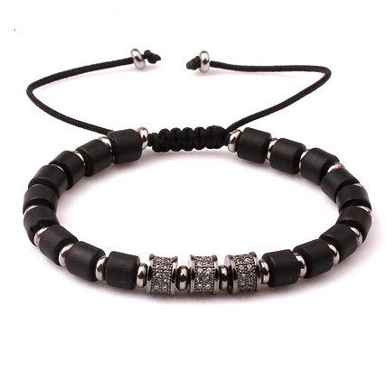 Natural stone Onyx Emperor CZ tube Bracelet