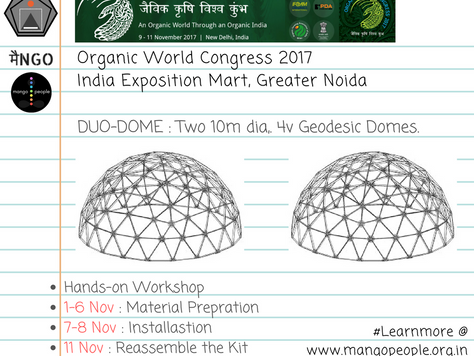 मैंNGO : Organic World Congress Mission : Organic farming #DuoDome : Two 10m 4V Geodesic Domes