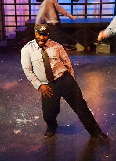 Joseph Graves dancing in The Full Monty at StageDoor Theatre