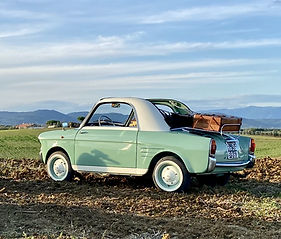 Vintage car rental in Tuscany, pina, vintage car, Nostalgic experience, Autobianchi Bianchina Trasformable, Tuscany, toscana, italia, italy, arezzo, chianti, val d'orcia, style, lifestyle, car, old, vintage, weekend, fine settimana, nice, wedding, event, events, luggage, valigia, wedding in italy, chic, cortona, tour, holiday, vacanze, ferie, green, wedding car, 60s, 50s, farmhouse.