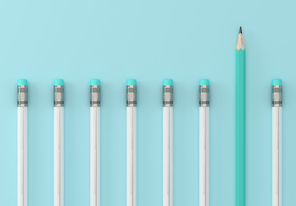 Blue pencil and white pencil on blue pastel background. minimal creative concept. The idea about the
