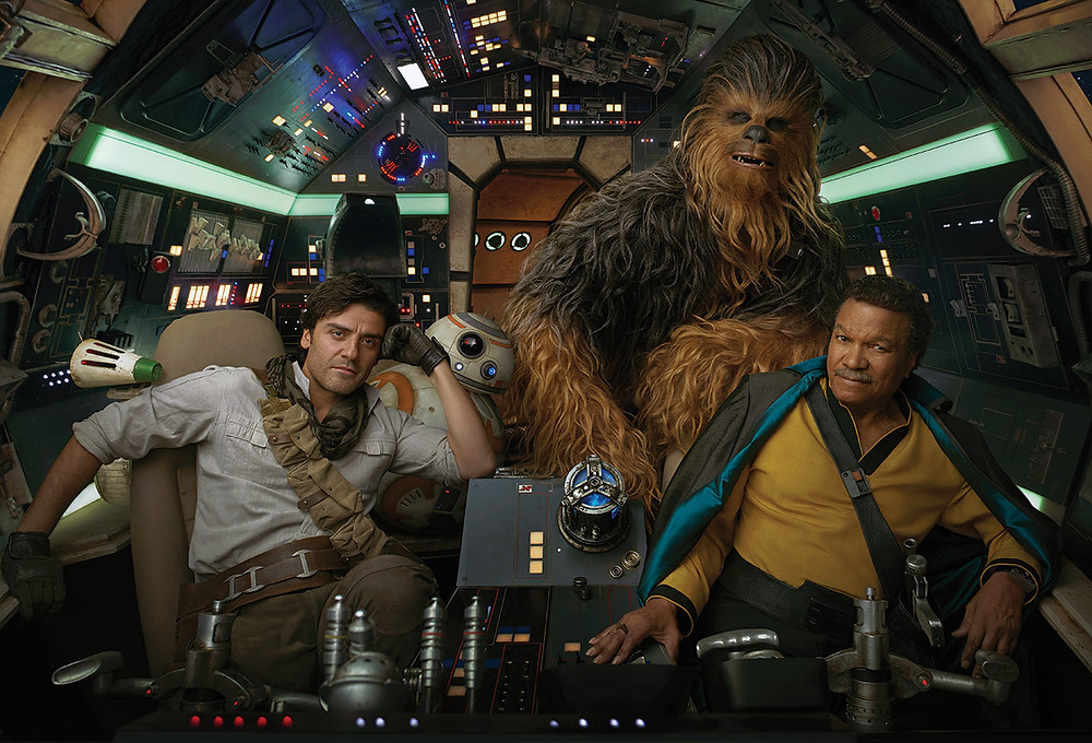 Poe, Chewbacca, and Lando on the Millennium Falcon. Photo by Annie Leibovitz