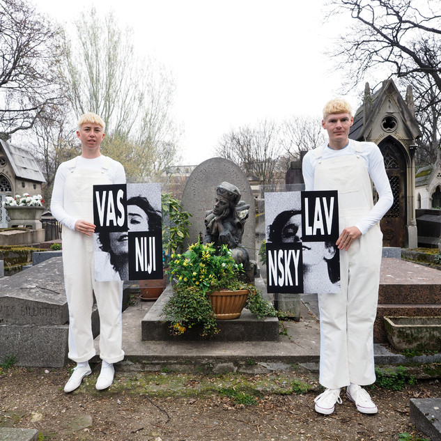 Derek Sargent and Jess Miley, Vaslav Nijinsky, 2019, Giclée print, 50 x 50 cm - NFS  Vaslav Nijinsky (1889 - 1950) Montmartre Cemetery - Paris  Escaping your mind into your vocation got you out of Russia. You gave Sergei your body and he made you a star. Your sexual gestures in Spring caused riots in Paris. While trapped on a boat you married your stalker, despite not sharing a language. Retiring before 30, schizophrenia and heterosexuality stole your last years.