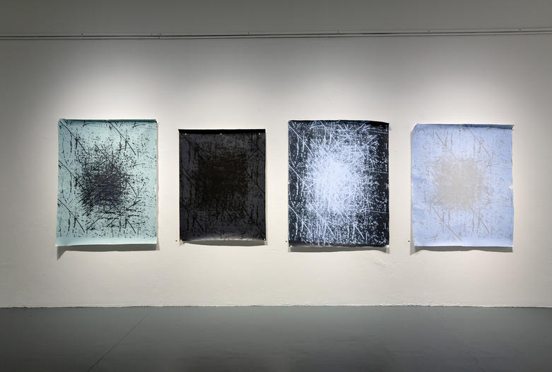 Rak, Ben, Pulling the Christopher Wool over you eyes 2019, Silkscreen and acrylic on un-stretched canvas, stainless steel eyelets, each panel 140cm x 110cm, edition: unique, each panel $2800. Photo: Document Photography