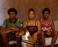 Andrea and Sons, 2020, 20 x 25 cm, framed, Edition 2/3 + 1 AP, Archival print on cotton rag paper  Andrea has 2 sons and 1 daughter. Her daughter refused to sit in front of the camera. We talked about indigenous housing and the trouble of raising teenagers, nothing much.